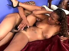 Bombshell black plump woman takes up cock