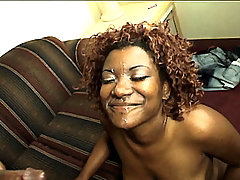 Horny ebony Tina sucking off a black cock and takes it deep into her tight rear entry