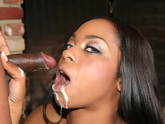 Ebony star Dream stretching her pussy wide to give his guy a wonderful cowgirl ride