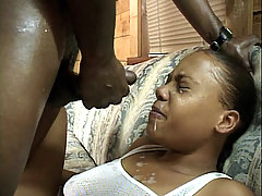 Pretty young ebony Vanilla submits her flesh backside and took deep cock shoving in her hole